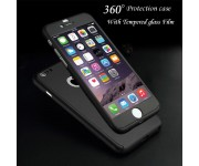 iPhone 5 / 5s / SE 360 Full Body Protection Case + Tempered Glass - Black