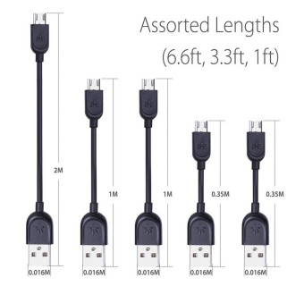 AVANTREE [5 CABLE IN SINGLE PACK] MICRO USB SYNC CHARGE CABLE CGUS-SET-13
