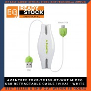 AVANTREE FDKB-TR105-RT-WHT MICRO USB RETRACTABLE CABLE (VIVA) - WHITE