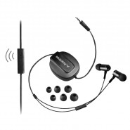 AVANTREE BEETLE ADHF-TR505A-BLK AUTO-RETRACT CLIP ON EARPHONES W/ MIC