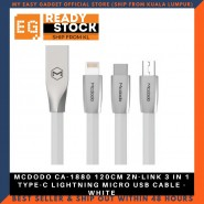 MCDODO CA-1880 120CM ZN-LINK 3 IN 1 TYPE-C LIGHTNING MICRO USB CABLE - WHITE