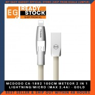 MCDODO CA-1892 100CM METEOR 2 IN 1 LIGHTNING/MICRO (MAX 2.4A) - GOLD