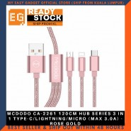 MCDODO CA-2261 120CM HUB SERIES 3 IN 1 TYPE-C/LIGHTNING/MICRO (MAX 3.0A) - ROSE GOLD