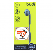 BUDI M8J101EP 1.2 METER EARPHONE WITH REMOTE AND MIC - BLACK