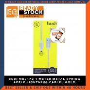 BUDI M8J172 1 METER METAL SPRING APPLE LIGHTNING CABLE - GOLD