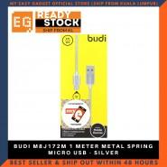BUDI M8J172M 1 METER METAL SPRING MICRO USB - SILVER