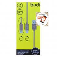 BUDI M8J175 1 METER ALUMINUM SHELL  2IN 1 LIGHTNING/MICRO USB - GOLD