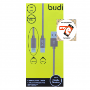 BUDI M8J175 1 METER ALUMINUM SHELL 2 IN 1 LIGHTNING/MICRO USB - PINK