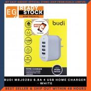 BUDI M8J028U 6.8A 4 USB HOME CHARGER - WHITE
