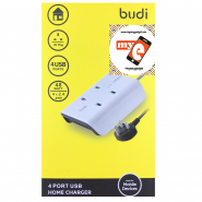 BUDI M8J027U 2.4A 4 USB HOME CHARGER - WHITE