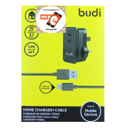BUDI M8J053U 2.1A USB HOME CHARGER + 1.2 METER LIGHTNING CABLE - BLACK
