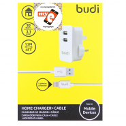 BUDI M8J053U 2.1A USB HOME CHARGER + 1.2 METER LIGHTNING CABLE - WHITE