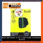 BUDI M8J056U 2.4A 2 USB HOME CHARGER - BLACK