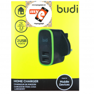 BUDI M8J056U 2.4A 2 USB HOME CHARGER - BLACK