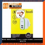 BUDI M8J056U 2.4A 2 USB HOME CHARGER - WHITE