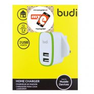 BUDI M8J056U 2.4A 2 USB HOME CHARGER - WHITE
