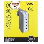 BUDI M8J301U 7.2A 6 USB HOME CHARGER - WHITE