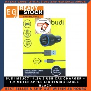 BUDI M8J071 4.2A 2 USB CAR CHARGER + 1.2 METER APPLE LIGHTNING CABLE - BLACK