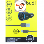 BUDI M8J071 4.2A 2 USB CAR CHARGER + 1.2 METER APPLE LIGHTNING CABLE - BLACK