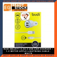 BUDI M8J071 4.2A 2 USB CAR CHARGER + 1.2 METER APPLE LIGHTNING CABLE - WHITE