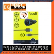 BUDI M8J070 2.1A 2 USB CAR CHARGER + 1.2 METER MICRO USB CABLE - BLACK