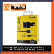 BUDI M8J065 3.4A 2 USB CAR CHARGER + 1.2 METER LIGHTNING CABLE - BLACK
