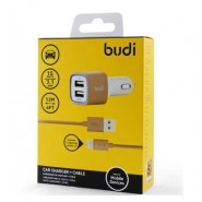 BUDI M8J065 3.4A 2 USB CAR CHARGER + 1.2 METER LIGHTNING CABLE - GOLD