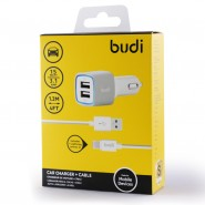 BUDI M8J065 3.4A 2 USB CAR CHARGER + 1.2 METER LIGHTNING CABLE - WHITE