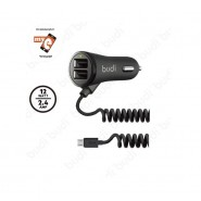 BUDI M8J068M 2.4A 2 USB CAR CHARGER WITH COILED MICRO CABLE - BLACK