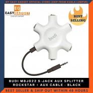 BUDI M8J022 5-JACK AUX SPLITTER ROCKSTAR + AUX CABLE - BLACK