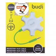 BUDI M8J022 5-JACK AUX SPLITTER ROCKSTAR + AUX CABLE - GREEN