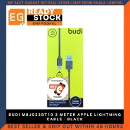 BUDI M8J023BT10 3 METER APPLE LIGHTNING CABLE - BLACK