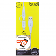 BUDI M8J010 1 METER 2 IN 1 LIGHTNING/MICRO USB CABLE - WHITE