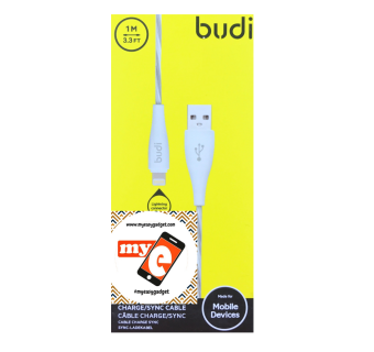 BUDI M8J010L 1 METER APPLE LIGHTNING CABLE - WHITE