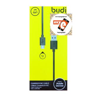 BUDI M8J012BT09 3 METER MICRO USB CABLE - BLACK