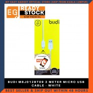 BUDI M8J012BT09 3 METER MICRO USB CABLE - WHITE