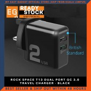 ROCK SPACE T13 DUAL PORT QC 3.0 TRAVEL CHARGER - BLACK