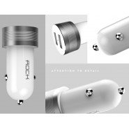ROCK SPACE 2 PORT 2.4A SITOR S CAR CHARGER - WHITE