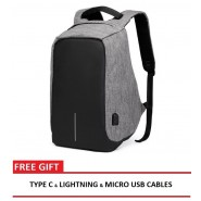 ANTI THEFT BACKPACK BAG WITH USB CHARGING PORT - DARK GREY [CLEARANCE]