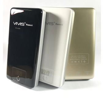 ViViS Dual USB Port 12000mAh Mobile Power Bank - Black