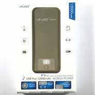 ViViS Dual USB Port 12000mAh Mobile Power Bank - Gold