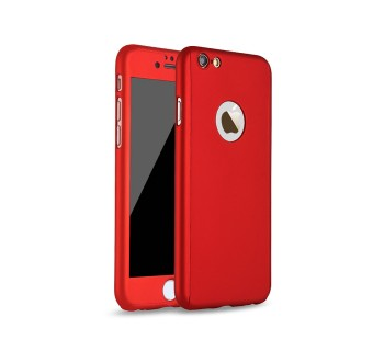 iPhone 8 360 Full Body Protection Case + Tempered Glass - Red