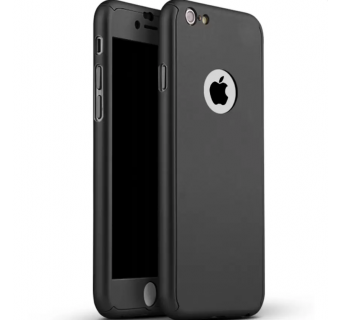 iPhone 8 Plus 360 Full Body Protection Case + Tempered Glass - Black