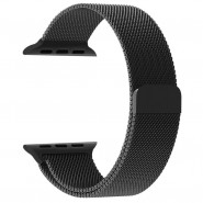 APPLE WATCH BAND 42MM LUXURY MILANESE LOOP MESH SMOOTH STAINLESS STEEL STRAP FULLY MAGNETIC - BLACK [CLEARANCE]