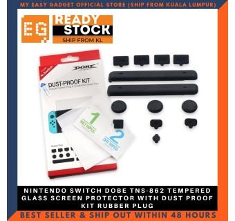 Dobe Nintendo Switch Tempered Glass Screen Protector + Dust Proof Kit Rubber Plug Travel Kit TNS-862