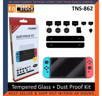 Dobe Nintendo Switch Tempered Glass Screen Protector + Dust Proof Kit Rubber Plug Travel Kit TNS-862