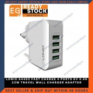 LDNIO A4403 FAST CHARGE 4 PORTS 5V 4.4A 22W TRAVEL WALL CHARGER ADAPTER