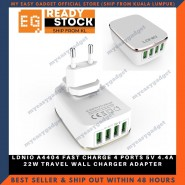 LDNIO A4404 FAST CHARGE 4 PORTS 5V 4.4A 22W TRAVEL WALL CHARGER ADAPTER