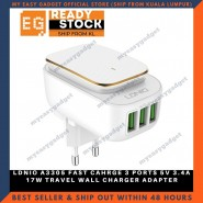 LDNIO A3305 FAST CAHRGE 3 PORTS 5V 3.4A 17W TRAVEL WALL CHARGER ADAPTER