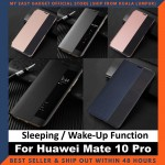 Huawei Mate 10 Pro Case Original Pu Luxury Leather Flip Cover Full Protection Smart Window View Phone Case (Free Tempered Glass)